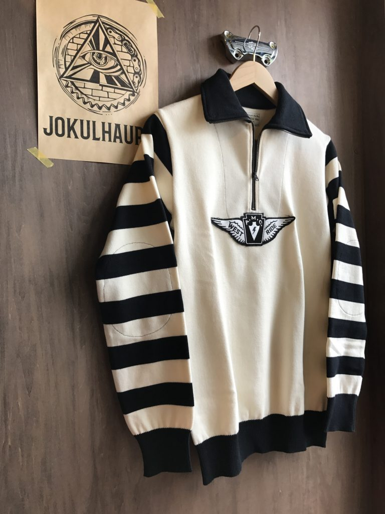17SS CLASSIC H.ZIP BORDER JERSEY BLK/IVORY